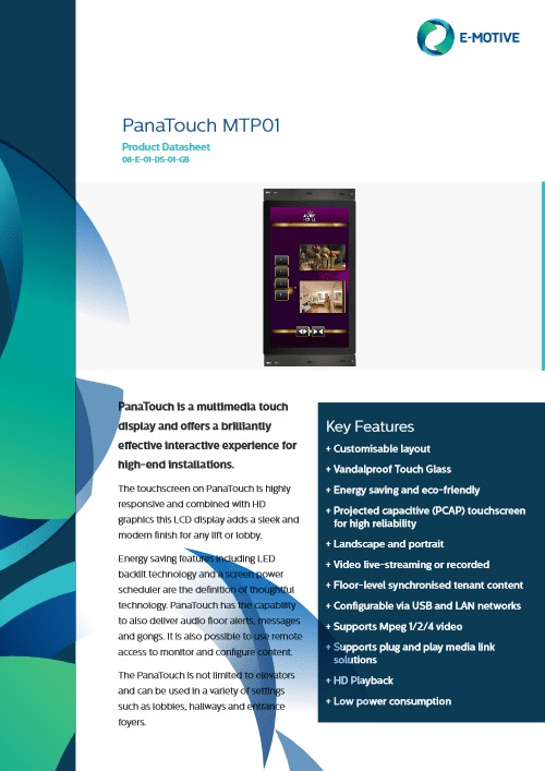 PanaTouch Elevator Touch Display - Avire Global