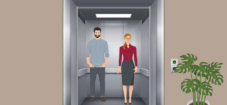 Two people in an elevator