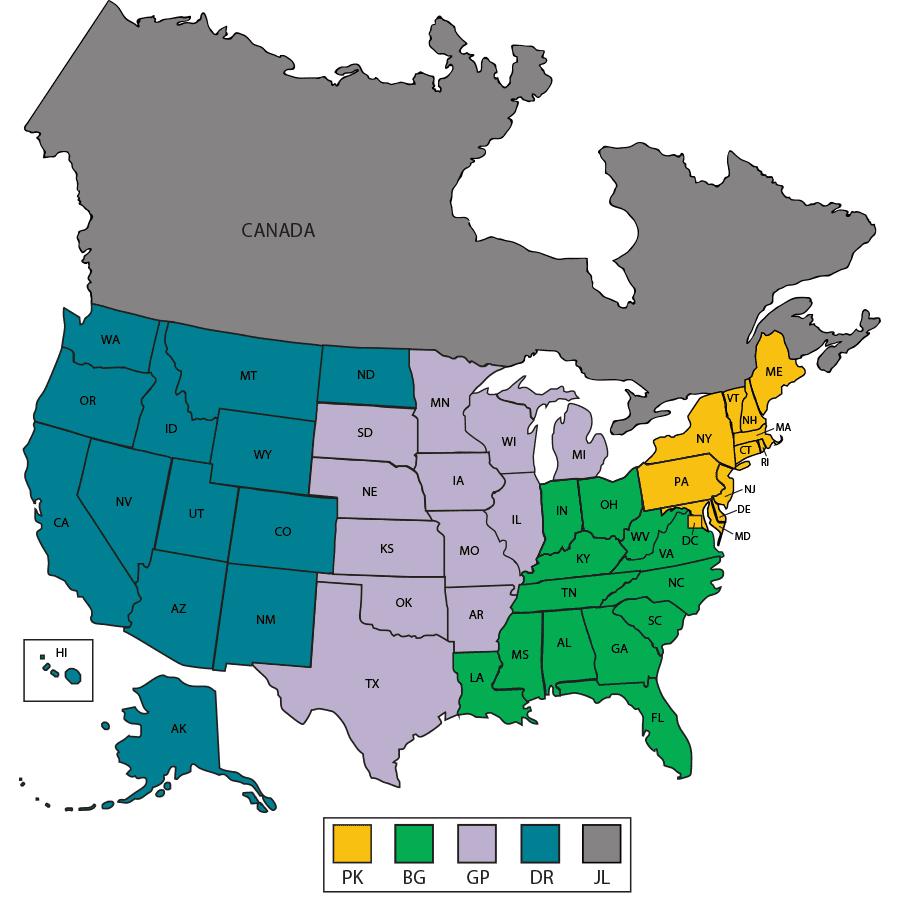 JANUS Territory Map - United States & Canada