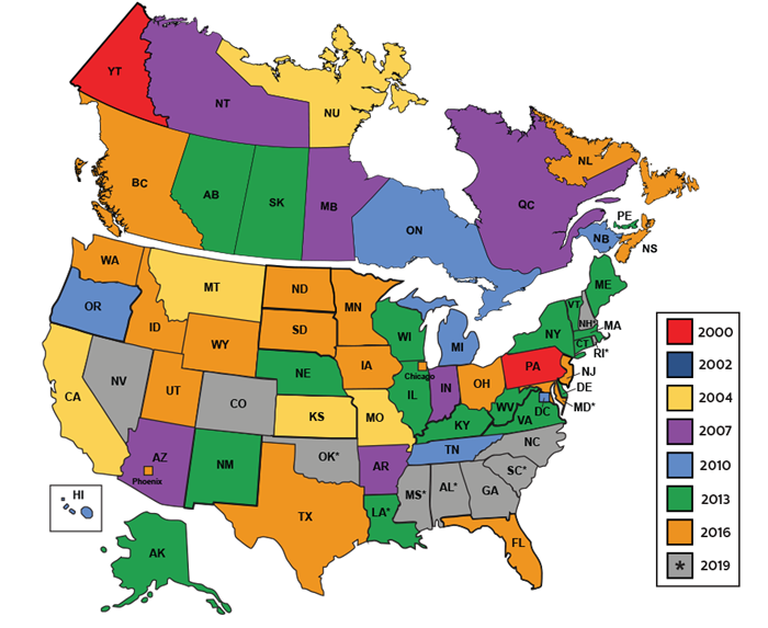 ASME/CSA Code Adoption Map with current year of enforcement