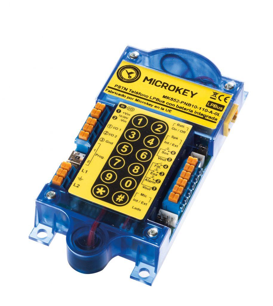 MK-852 teléfono de emergencia independiente con batería incorporada y un teclado de programación que se puede programar en la instalación o a distancia.
